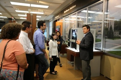 Brian McNally, Ph.D., Senior Manager, Canon BioMedical speaks with the iGEM Team at Canon's Headquarters in Melville, NY.