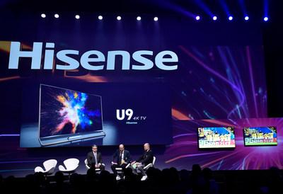 En la conferencia de prensa, se presentaron los modelos Hisense U7 ULED TV, el Televisor de Edición Especial de la Copa Mundial, y Hisense U9 ULED TV, el Televisor de Edición Limitada de la Copa Mundial. (PRNewsfoto/Hisense)
