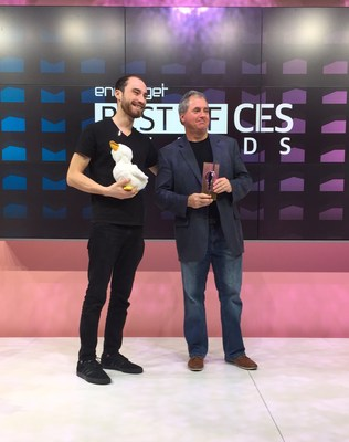 Aaron Horowitz, CEO and co-founder of Sproutel, and Jon Sullivan, director of Corporate Communications at Aflac, accept the Best of CES 2018 Award for Best Unexpected Product for My Special Aflac Duck on Thursday, Jan. 11 in Las Vegas.