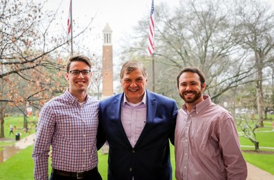 University of Alabama MBA students Kyle Spencer (L) and Slade Johnson (R) join Pete Kowalczuk, president of Canon Solutions America, following Kowalczuk's speaking engagement that highlighted what it takes to be a successful executive in today's challenging business environment.