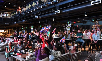 Locals and tourists celebrate the Royal Wedding at Topgolf Las Vegas in the pre-dawn hours as part of Royal Wedding Month in the Wedding Capital of the World. #VegasGoesRoyal #RoyalPajamaParty
