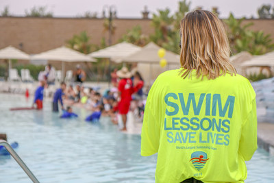 An instructor at Splash! La Mirada Waterpark oversees swimmers participating in the 9th Annual World's Largest Swimming Lesson which took place today, June 21st, to kick off the first day of summer. The 24-hour, global event helps spread the message Swimming Lessons Save Lives to families and children in 29 countries on 6 continents. Organizers expect more than 45,000 swimmers.