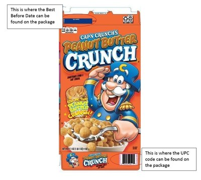 Cap'n Crunches Peanut Butter Crunch cereal and where to find the Best Before Date and UPC code