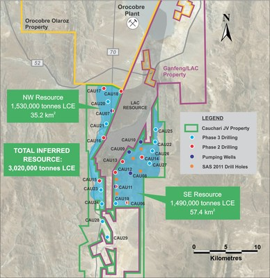 Figure 1: Location of drill holes mentioned in this release, showing the inferred resource area (CNW Group/Advantage Lithium Corp)