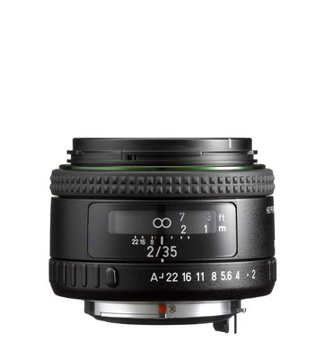 The HD PENTAX-FA35mmF2 is a high-performance, wide-angle lens designed to cover the large, full-frame sensor of PENTAX K-mount digital SLR cameras.