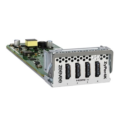 The new ZeeVee ZyPer4K HDMI Module, developed in collaboration with NETGEAR and the SDVoE Alliance, enables the world's first Ethernet switch featuring integrated HDMI connectivity for video sources, including the capacity to distribute uncompressed 4K/UHD and HDR content.