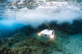 The Sofar Trident Underwater Drone diving beneath the surface. Sofar Ocean Technologies is the result of a merger between leading ocean drone and sensor companies.
