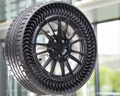 Michelin Uptis (Unique Puncture-proof Tire System) Prototype is an airless wheel assembly which supports Michelin's vision for a future of sustainable mobility.