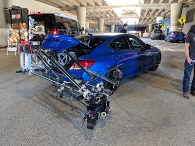"The 2019 Genesis G70 luxury sport sedan, geared for filming ""The Art of the Stunt."""