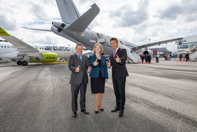 "With an agreement in place to explore U.S. military tanking opportunities, Airbus and Lockheed Martin senior executive leaders met for some ""tanker talk"" during the 2019 Paris Air Show. The Airbus A330 Multi Role Tanker Transport (A330 MRTT) provided the perfect backdrop for the meeting with (l to r) Alberto Gutierrez, Head of Military Aircraft, Airbus Defence and Space; Michele Evans, Executive Vice President of Lockheed Martin Aeronautics, and Dirk Hoke, CEO of Airbus Defence and Space."