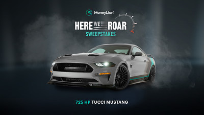 """One lucky fan will win this custom-built and 725-horsepower Mustang GT as part of the MoneyLion """"Here We Roar"""" Sweepstakes."""