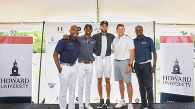"Stephen Curry Partners with Howard University to Launch First NCAA Division 1 Golf Team. Pictured L-R: Howard University Athletic Director Kery Davis, student Otis Ferguson IV, Stephen Curry, Calloway CEO Oliver ""Chip"" Brewer and Howard University President Wayne A. I. Frederick. (Photo credit: Howard University)"