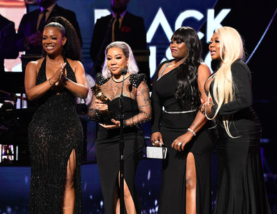"ATLANTA, GEORGIA - SEPTEMBER 05:  Kandi Burruss, Tameka ""Tiny"" Harris, LaTocha Scott and Tamika Scott of Xscape onstage during 2019 Black Music Honors at Cobb Energy Performing Arts Centre on September 05, 2019 in Atlanta, Georgia. (Photo by Paras Griffin/Getty Images for Black Music Honors)"