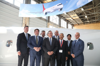 Left to right: Hubert Bolduc, Chief Executive Officer, Montréal International; Alex Bellamy, Chief Development Officer, Mitsubishi Aircraft Corporation; Guy Leblanc, Chief Executive Officer, Investissement Québec; François Legault, Quebec Premier, Government of Quebec; Pierre Fitzgibbon, Minister, Ministry of Economy and Innovation of Quebec; Hitoshi Iwasa, President, Mitsubishi Aircraft America; Osamu Izawa,  Consul General, General Consulate of Japan in Montréal; Jean-David Scott, Vice President, SpaceJet Montreal Center, Mitsubishi Aircraft Corporation (CNW Group/Mitsubishi Aircraft Corporation)