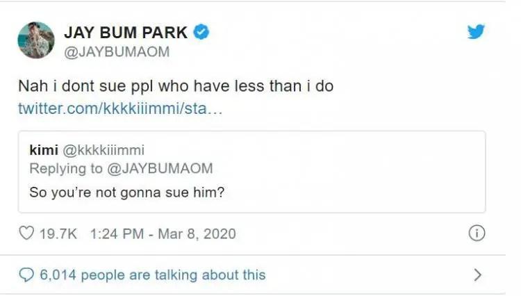 jay park tweet not going to sue ortega