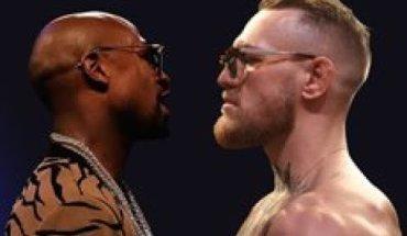 Conor McGregor Vs Floyd Mayweather staredown.