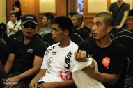 Compatriots and Featherweight Contenders from the Philippines, Eric Kelly and Honorio Banario sat side-by-side at the weigh-ins