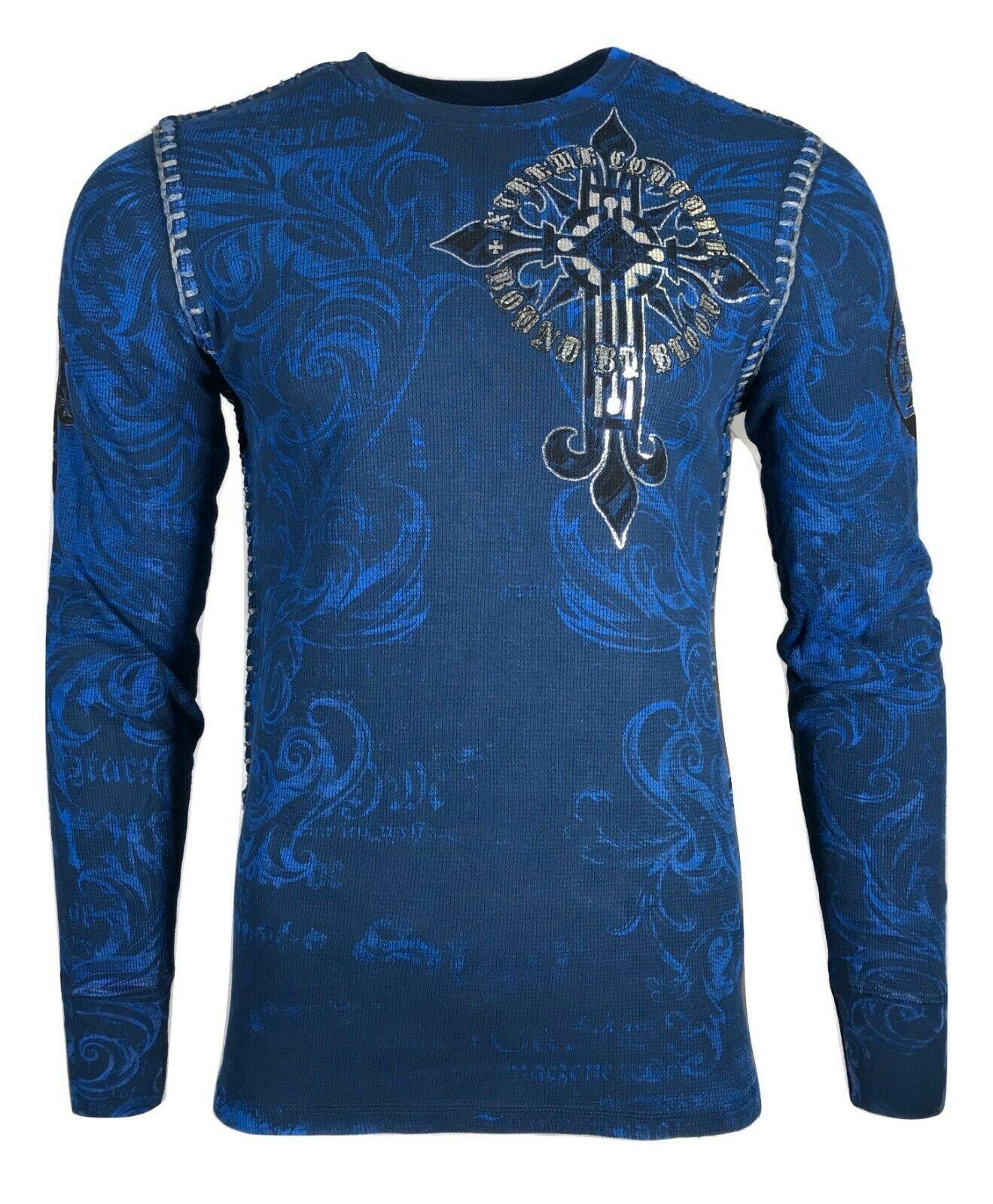 Xtreme Couture AFFLICTION Men THERMAL T-Shirt TELEPHUS Skull Biker UFC S-3XL $58