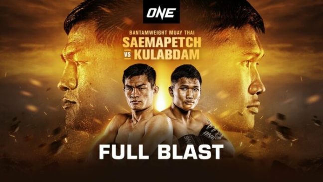 Promotional Poster for ONE: Full Blast, ONE Championships upcoming MMA Event featuring Saemapetch vs. Kulabdam