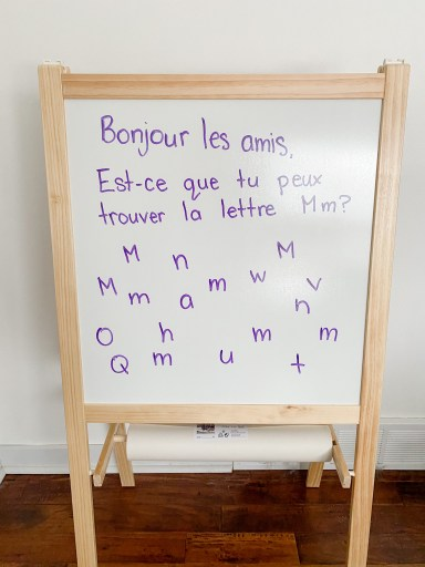 French morning message. Students must find the letter.