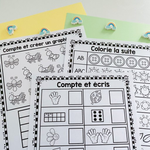 Math Distance Learning Pack. Here is a photo of 3 pages included in this French resource