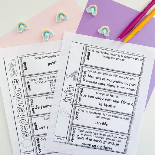Grade 3 French grammar activities