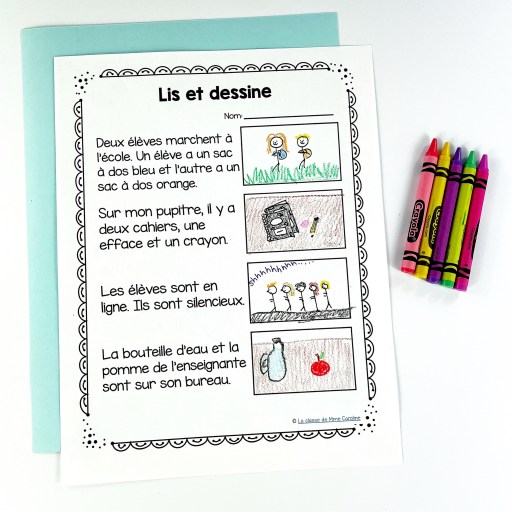 Here is an activity from my French back to school literacy centres. Students must read the sentencfes and draw a photo