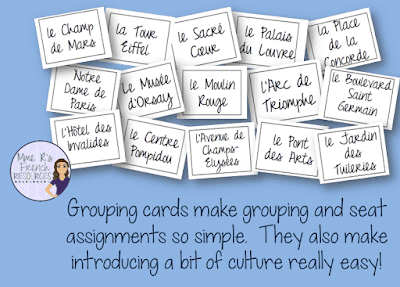 Grouping cards make grouping and seat assignments so simple. They also make introducting a bit of culture really easy!