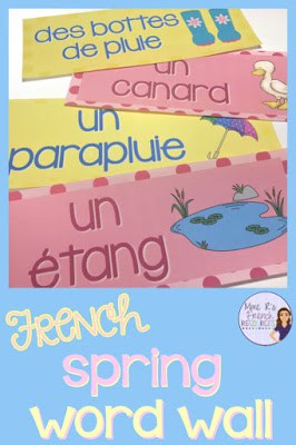 French spring vocabulary word wall - great for French immersion, FSL, and core French