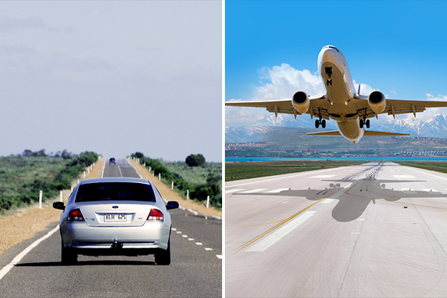 This image has an empty alt attribute; its file name is drivingvsflying.jpg