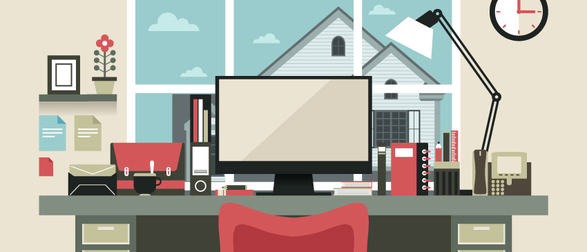 Illustrated picture of home office desk with computer.