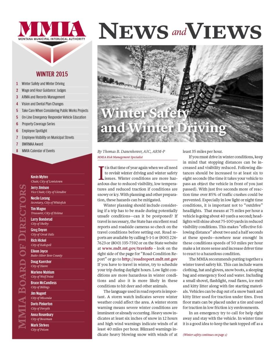 MMIA News & Views - Winter 2015