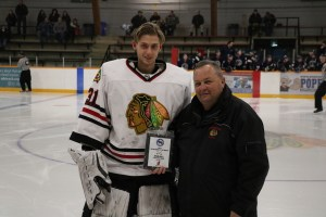 Ryan Hall Emco Corporation MMJHL Goaltender of the Month for October (P.Weissgaerber/Charleswood Hawks)