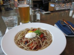"""!! especially memorable because it was a solo meal -- I think that beer was on recommendation by another solo straggler, also in rain-drenched business casual. He said he was waiting for the rest of this party; we made small talk at the bar while I ate. He gave me his email address because I don't have fb (""""Let me know if it goes well with the job and you're back in Madison""""), and then we ran into each other again the next morning -- him on his way to work in a new suit, me on my way to find breakfast in the same toe-ring sandals. We gawked at each other, at the odds, and laughed as we waved goodbye. And then I threw away his email address after turning down the job offer."""