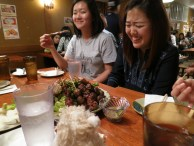 giggles @ this Japanese place where we braved weird meats