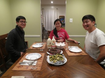 12/11: a steak din with mom and dad and Mark! just kidding, with Q and J. complete with brussel sprouts and of-yore stories about bokkeumbap PTSD.