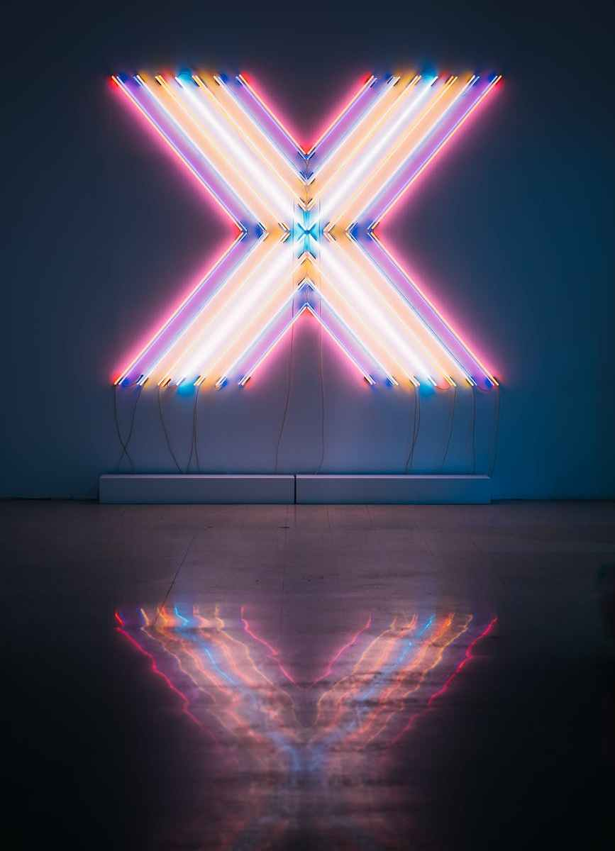 letter x neon signage
