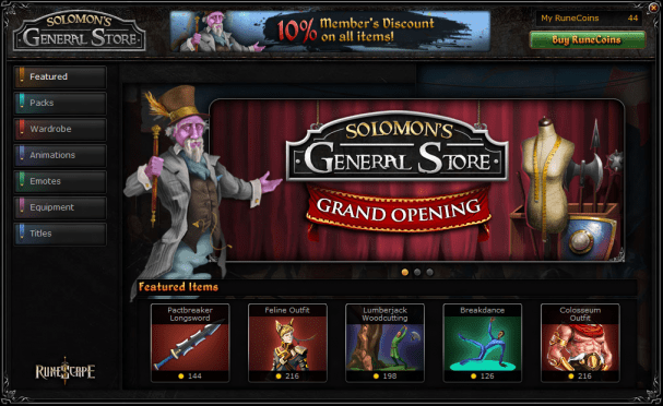 RuneScape Opens Cash Shop, Sells Cosmetic Items | MMO Fallout