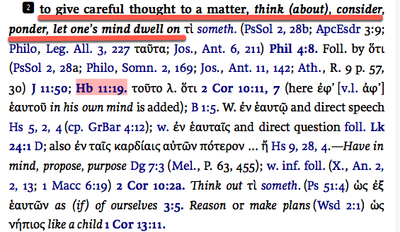Hebrews 11:19 careful thought