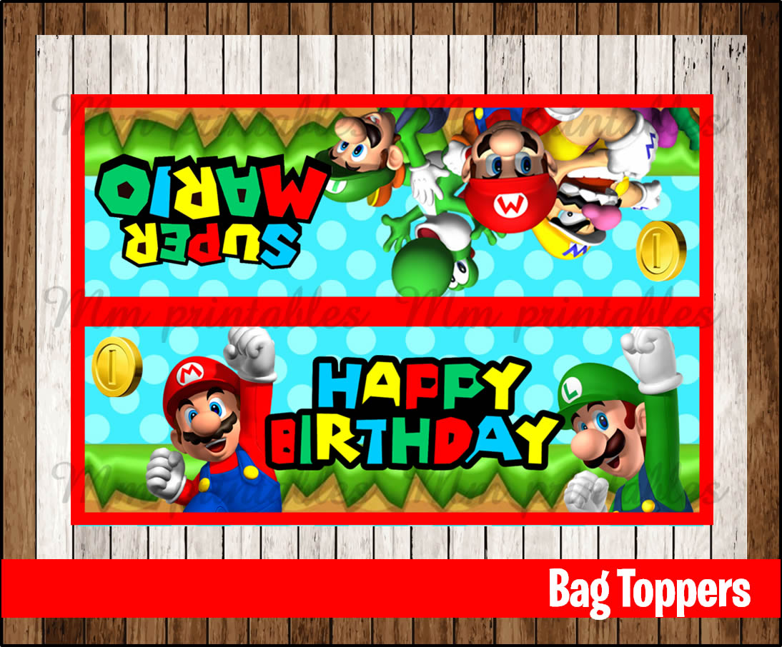 80 Off Sale Mario Bros Party Toppers Instant Download