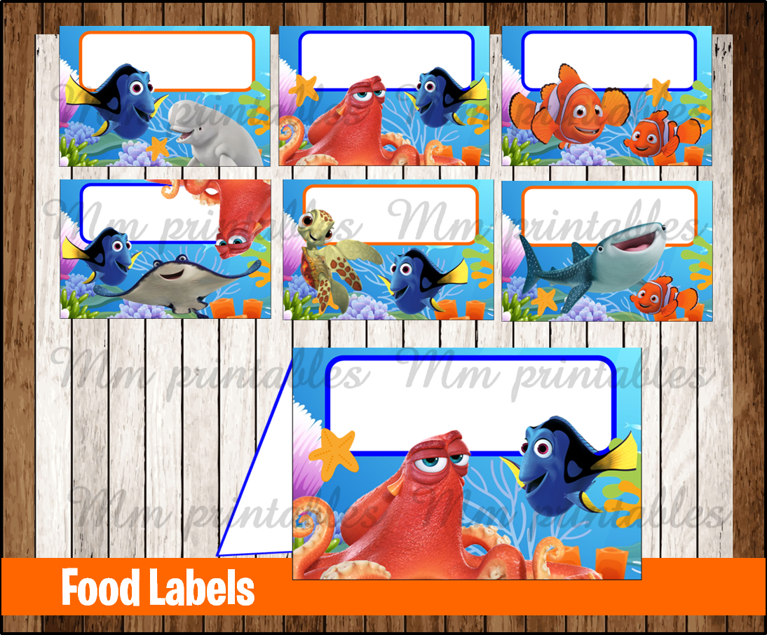 80 Off Sale Finding Dory Food Tent Cards Instant Download