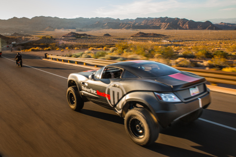 Local Motors Rally Fighter wearing custom-designed MakerBot Racing vinyl wrap, and featuring parts 3 ...