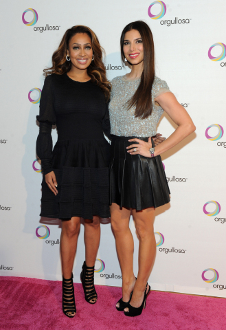 Actresses La La Anthony, left, and Roselyn Sanchez attend the debut of the P&G Orgullosa production...
