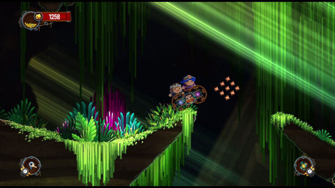 In Chariot, players guide a chariot containing the King's remains through underground caves using ph ...