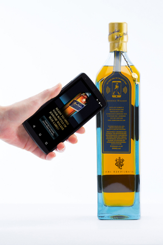 NFC-enabled smartphone reading the tag on a JOHNNIE WALKER BLUE LABEL®