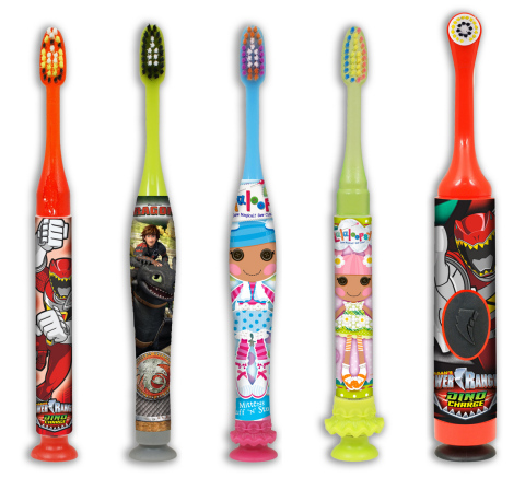 "Sunstar Americas announces the launch of three new lines of children's toothbrushes under the GUM Brand name featuring popular characters from Saban's Power Rangers, Lalaloopsy™ and DreamWorks Animation's ""How to Train Your Dragon 2™."" These fun new manual, power and light-up toothbrushes, which will be on shelf by April, 2015, are part of the Sunstar GUM® Children's Oral Care Portfolio that includes the full line of GUM® Crayola™ products. Pictured from left to right: GUM Power Rangers light-up toothbrush, GUM DreamWorks Animation's How to Train Your Dragon 2™ manual toothbrush, GUM Lalaloopsy™ manual toothbrush, GUM Lalaloopsy™ light-up toothbrush, and GUM Power Rangers power toothbrush. (Photo: Business Wire)"
