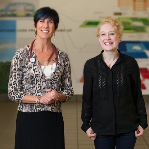 Carol Conrad, MD, is pictured with cystic fibrosis patient Lauren Catron. Conrad is director of the...