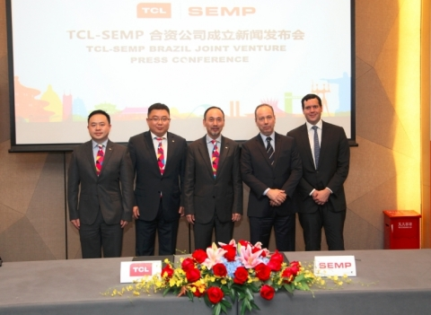 TCL Multimedia's Chief Executive Officer Mr. BO Lianming (middle), Chief Financial Officer Mr. Micha ...
