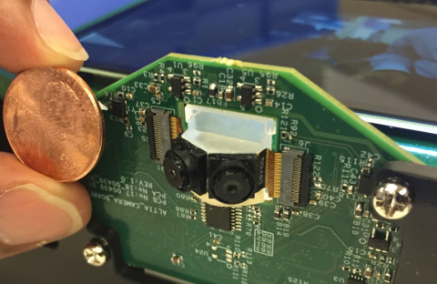 Size comparison: Altia Systems' First Smartphone-Scale PanaCast Micro Camera Technology versus the s ...