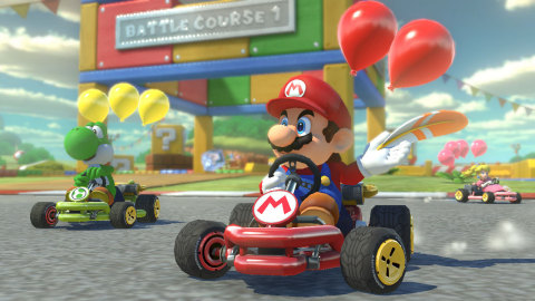 The Mario Kart 8 Deluxe game races to the Nintendo Switch console with more characters, karts and tr ...